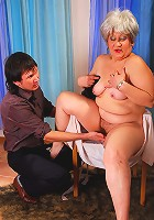 Chubby mature filled with fresh meat