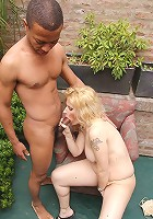 Lusty milf Valeria tittyfucking a black stud