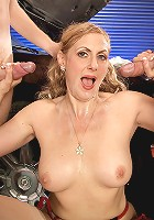 Mature babe gets pounded by two studs