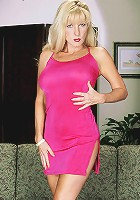Athena bends over her long, smooth legs