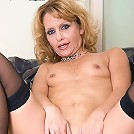 Petite blonde plays with her 40 year old pussy