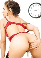Mature Gabriella wearing red panty & bra
