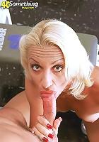 Blonde MILF loves to suck cock