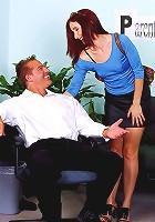 Redhead secretary sucks and fucks the boss