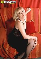 Blonde MILF Gemma in stockings