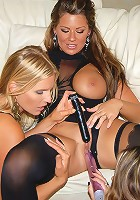 3 big plump tits lesbian babes finger fuck each other hard then dildo fuck in this hot 3 hot milf fucking pic seat