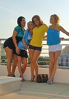 4 hot ass babes show their mini skirt asses then lick and fuck eachother after a day on the town in these amazing fucking pics