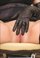 Leather glove wank