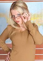 Blond teen office boss