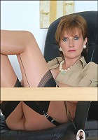 Nylons milf spreads pussy