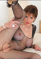 Fishnet catsuit mature